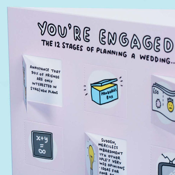 12 Stages of Planning a Wedding Funny Lovely Flaps Engagement Card