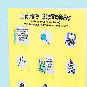 Unlocking Birthday Achievements Funny Lovely Flaps Card