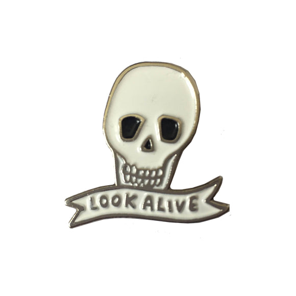 Look Alive Soft Enamel Skull Pin Badge