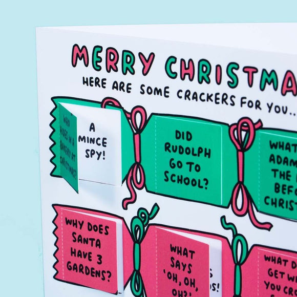 Merry Christmas Cracker Jokes Funny Lovely Flaps Card