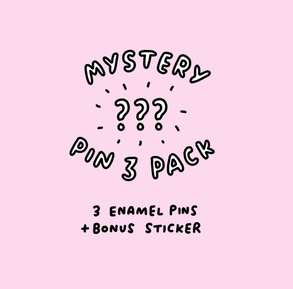 Mystery Pin Pack - 3 Veronica Dearly Pins + 1 Free Random Vinyl Sticker