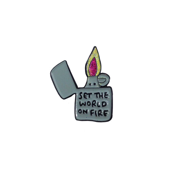 Set The World On Fire Lighter Soft Enamel Glitter Pin Badge