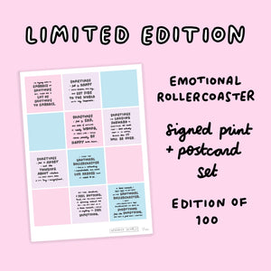 Limited Edition Emotional Rollercoaster Signed Print & Postcard Set