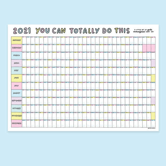 A1 2021 Daily Gentle Encouragement Wall Planner