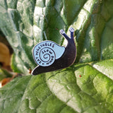 Slow Down And + Eat Vegetables Snail Enamel Pin