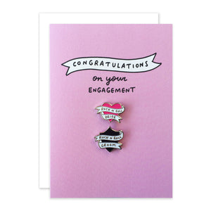 Rock n Roll Bride Engagement Card With 2 Enamel Pins
