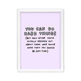 You Can Do Hard Things Lilac Art Print by Veronica Dearly - Frame & Size Options