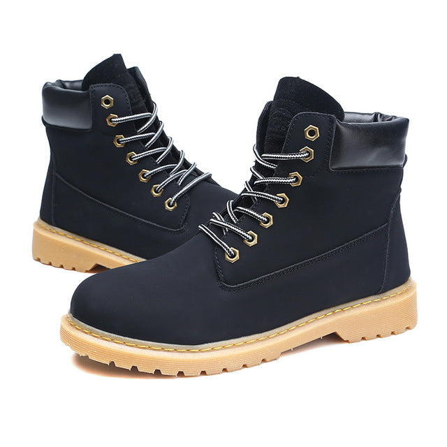 Fujin Women Leather Ankle Work Boots