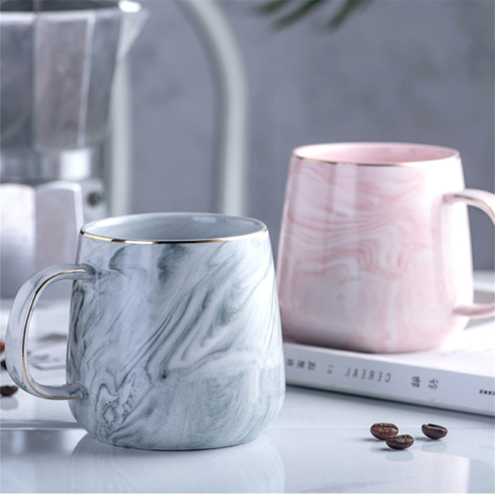Europe Milk Coffee Tea Mugs with Marble Texture and Gold Inlay