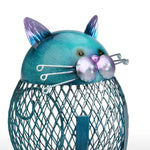 Blue Cat Shaped Coin Bank