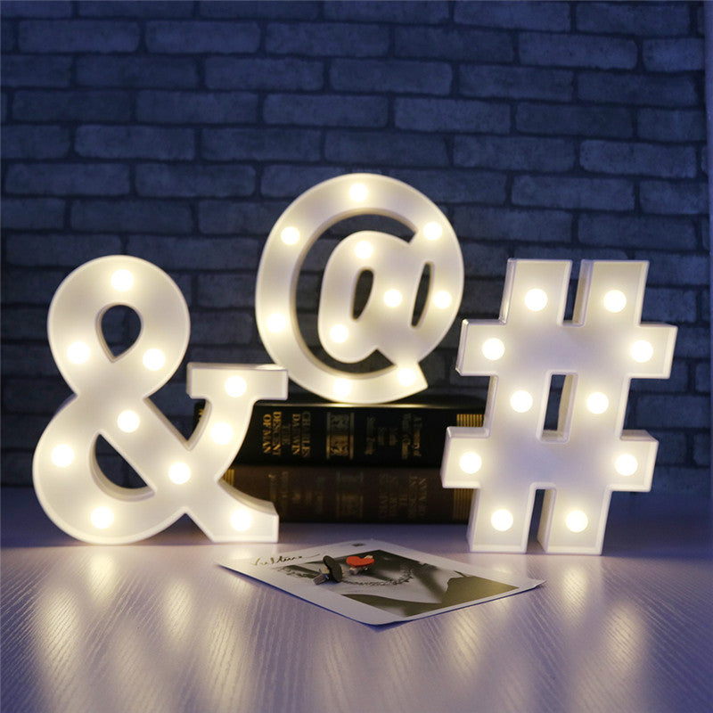 White Letter Symbol Led Marquee Night Light
