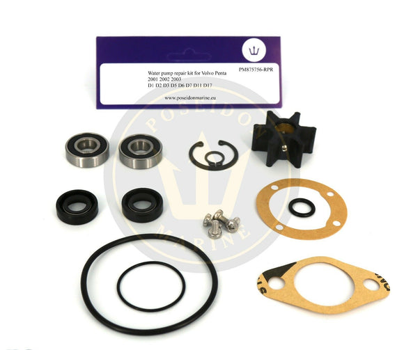 Water pump repair kit for Volvo Penta 2001 2002 2003 MD7 similar to 875756 3586496