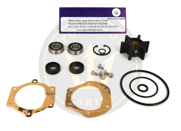 Water pump kit for Volvo Penta MD2010 MD2020 MD2030 MD2040 D1-13 D1-20 with 3593659