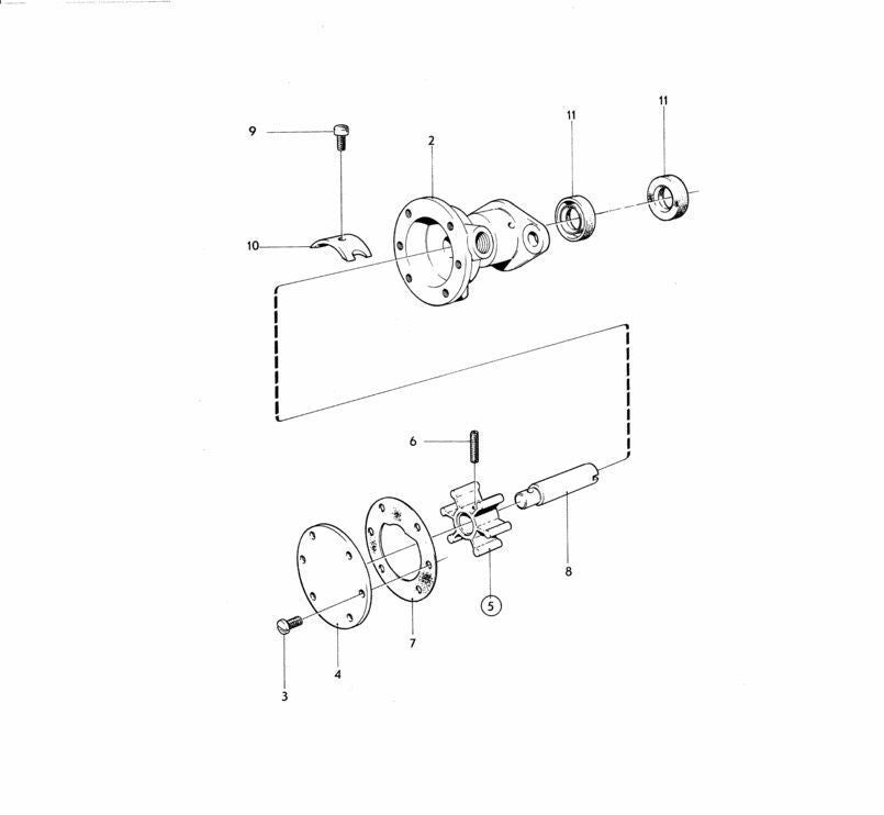 Water pump kit for Volvo Penta D1A MD1B AQD2B D2A MD2 MD2A