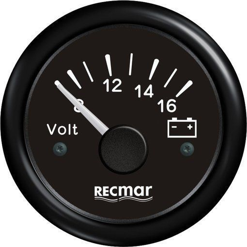 VOLTIMETER 8-16V 51 mm BLACK For Outboard Mercury Mariner Yamaha Suzuki