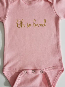 Loved Short Sleeve Pink/ Preemie Baby Girl/ Pink Gold