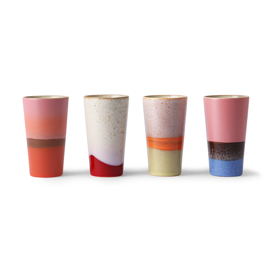 set of 4 70s ceramic latte cups