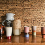 set of 4 70s ceramic latte cups details