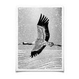 flying crane monochrome print