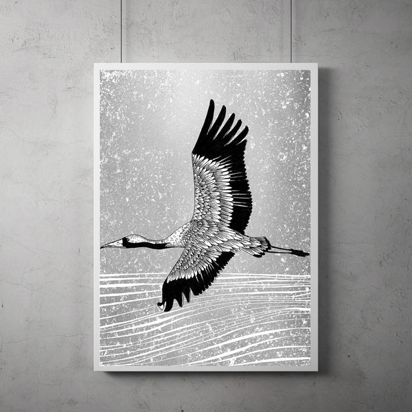 flying crane screen print