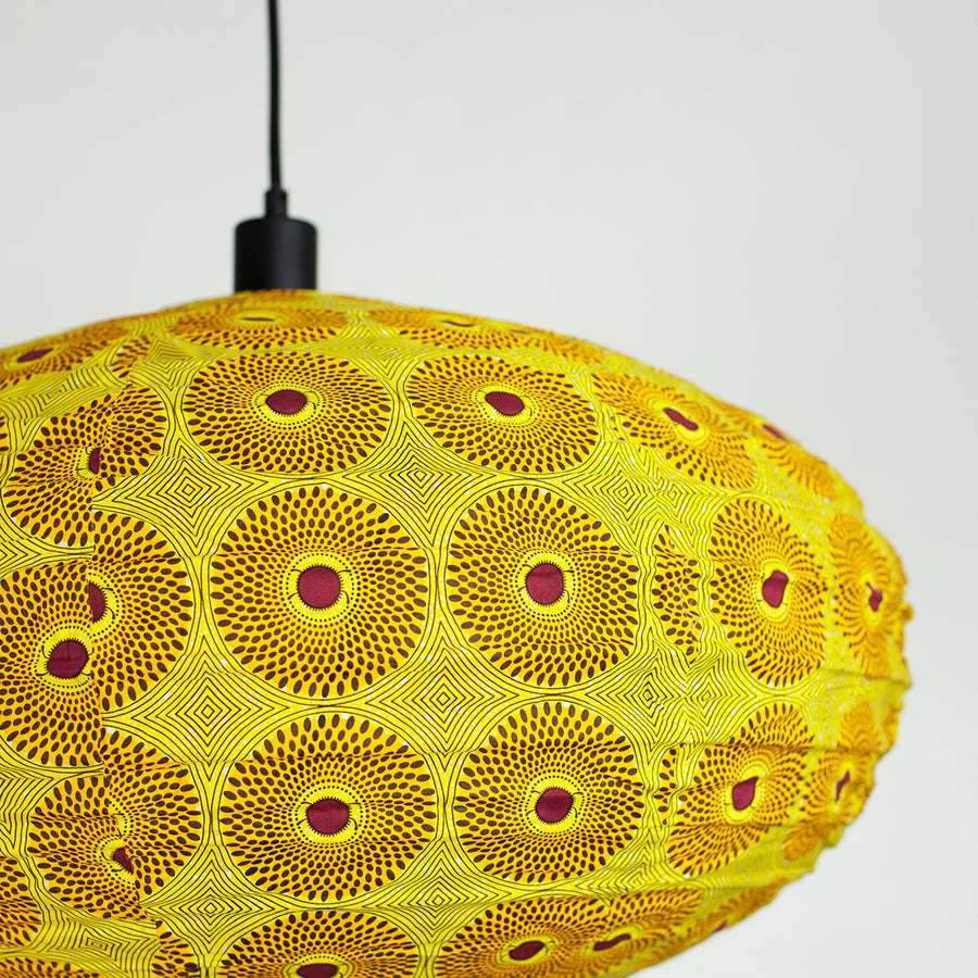 African wax print cotton pendant shade close up