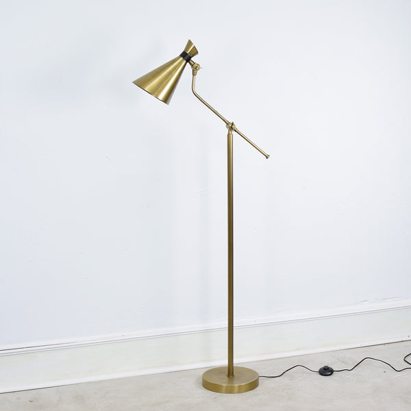 brass conical floor lamp