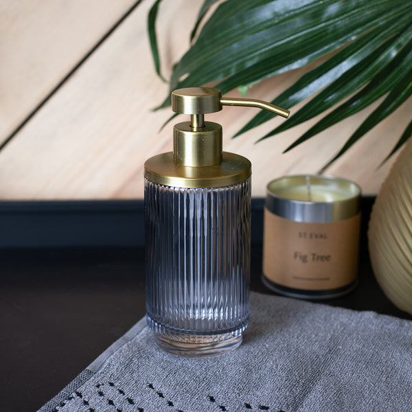 art deco soap dispenser in glass and brass