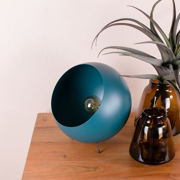 ball table lamp in teal