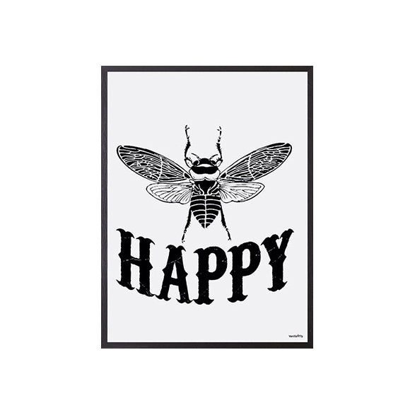 Bee Happy monochrome print