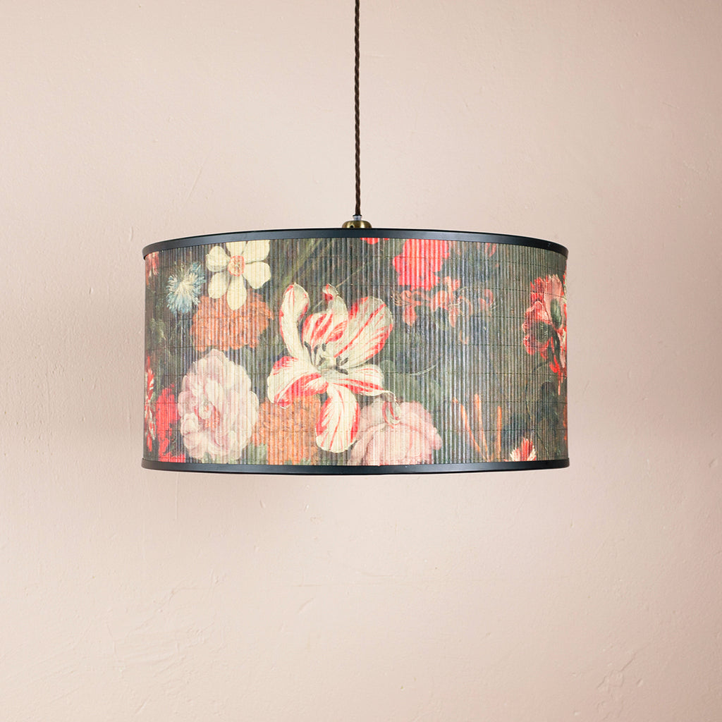 black bamboo floral pendant light