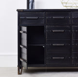 black industrial cabinet shelving
