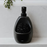 black ceramic soap dispenser with scrubber