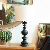 black turn wood style table lamp