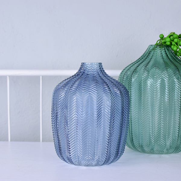 blue glass chevron vase