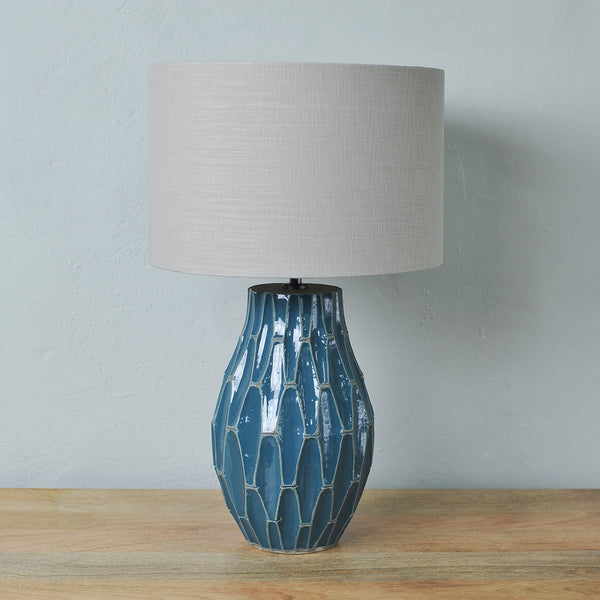 blue stoneware table lamp