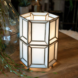 white glass table lamp with antique brass