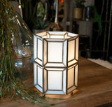 white glass table lamp detailing