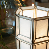 white glass table lamp close up