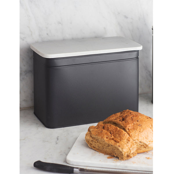 steel and marble bread bin