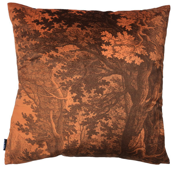 velvet woods cushion in burnt orange