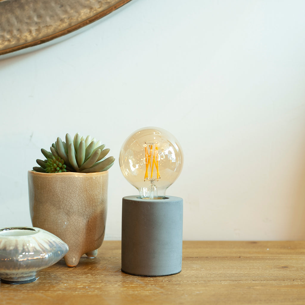 cement cylinder table lamp