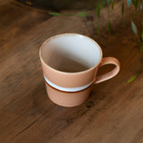 70s cappuccino mug in peach - close up