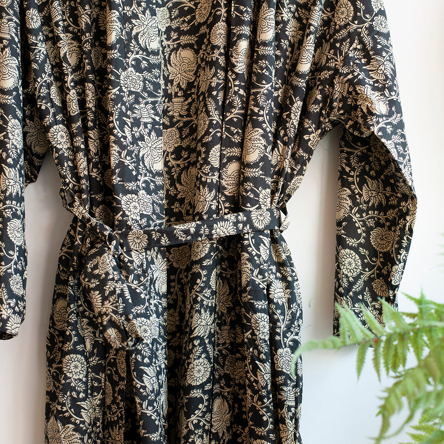 monochrome printed robe with belt