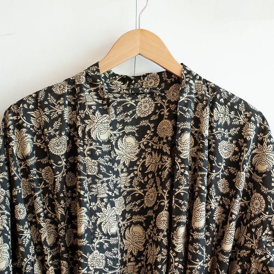 monochrome printed robe close up