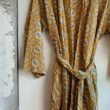 printed cotton robe close up