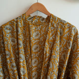 printed cotton robe with floral print