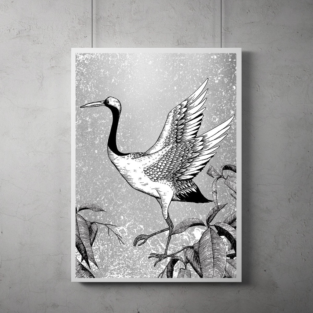 skipping crane screen print