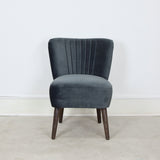 grey velvet chair front view