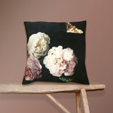 dark velvet floral cushion details