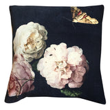 dark velvet floral cushion close up